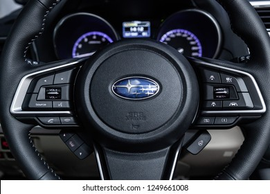 Novosibirsk, Russia - December 04, 2018: Subaru Outback, close-up of the dashboard and steering wheel. Photography of a modern car on a parking in Novosibirsk