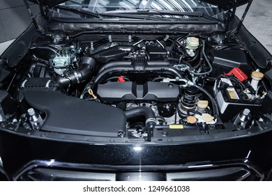 Novosibirsk, Russia - December 04, 2018: Subaru Outback, close-up of the engine, front view. Photography of a modern car on a parking in Novosibirsk