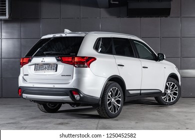Novosibirsk, Russia - December 04, 2018:  Mitsubishi Outlander, back view. Photography of a modern car on a parking in Novosibirsk