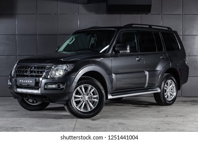 Novosibirsk, Russia - December 04, 2018: silver Mitsubishi Pajero , front view. Photography of a modern car on a parking in Novosibirsk