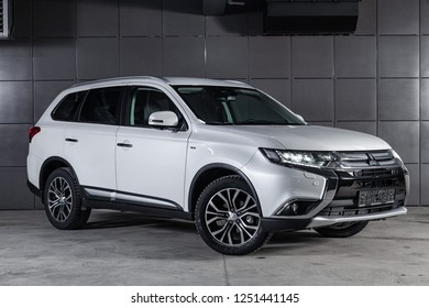 Novosibirsk, Russia - December 04, 2018:  Mitsubishi Outlander, front view. Photography of a modern car on a parking in Novosibirsk