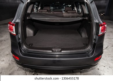 Novosibirsk, Russia - February 05, 2019: Hyundai Santa Fe, close-up of the luggage boot, front view. Photography of a modern car on a parking in Novosibirsk