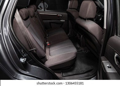 Novosibirsk, Russia - February 05, 2019: Hyundai Santa Fe, , close-up of the rear seats. Photography of a modern car on a parking in Novosibirsk