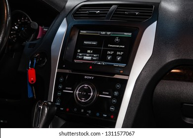 Novosibirsk, Russia - February 10, 2019:  Ford Explorer, close-up of the dashboard, adjustment of the blower, air conditioner, player. Photography of a modern car on a parking in Novosibirsk