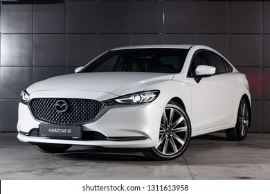 Novosibirsk, Russia - February 10, 2019:  Mazda 6, , front view. Photography of a modern car on a parking in Novosibirsk