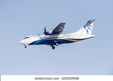 Novosibirsk, Russia - February 18, 2018: ATR 42-500 VQ-BKP NordStar airlines before landing at the international airport Tolmachevo.