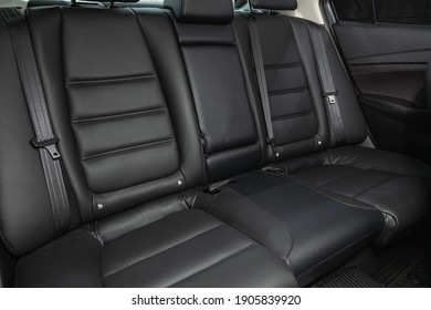 Novosibirsk, Russia – January 14 2021: Mazda 6, Leather interior design, car passenger and driver seats with seats belt.