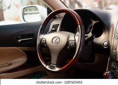 Novosibirsk, Russia - January 17, 2019:  Lexus GS300, close-up of the dashboard and steering wheel. Photography of a modern car on a parking in Novosibirsk