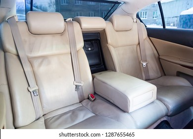 Novosibirsk, Russia - January 17, 2019: Lexus GS300, close-up of the rear seats. Photography of a modern car on a parking in Novosibirsk