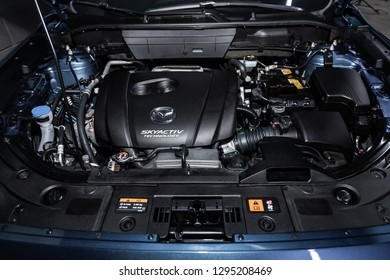 Novosibirsk, Russia - January 25, 2019:  Mazda CX-5,  close-up of the engine, front view. Photography of a modern car on a parking in Novosibirsk