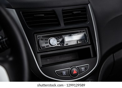 Novosibirsk, Russia -January 30, 2019:  Hyundai Solaris,  close-up of the dashboard and player. Photography of a modern car on a parking in Novosibirsk