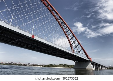 NOVOSIBIRSK, RUSSIA - JUL 13, 2015: New Bugrinsky bridge in Novosibirsk, Russia