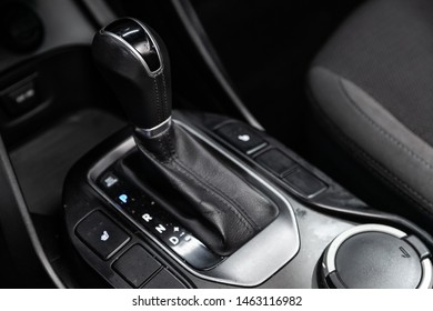 Novosibirsk, Russia – July 08, 2019:  Hyundai Santa Fe, close-up of the accelerator handle and buttons. automatic transmission gear of car , car interior