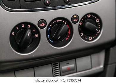 Novosibirsk, Russia – July 17, 2019:  Ford Focus, Close up car ventilation system and air conditioning - details and controls of modern car.