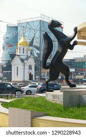 Novosibirsk, Russia - July 19, 2018: View of Sable Sculpture and Chapel of St. Nicholas. The element of sculpture Siberian Spaces.