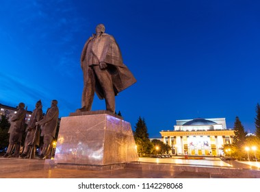 NOVOSIBIRSK, RUSSIA - JULY 24, 2018: Monument to Vladimit Ilici Lenin on the main square of Novosibirsk, Russian Federation