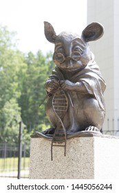 NOVOSIBIRSK, RUSSIA - JULY 3, 2019: Monument to the laboratory mouse is a sculpture in the city of Novosibirsk in Siberia, Russia, Institute of Cytology and Genetics of the Russian Academy of Sciences