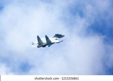 """Novosibirsk, Russia, July 31, 2016, Mochishche airfield, local air show, Aerobatic team VKS """"Russian Falcons"""" Su-30 SM, russian fighter aircraft in the blue cloudy sky"""