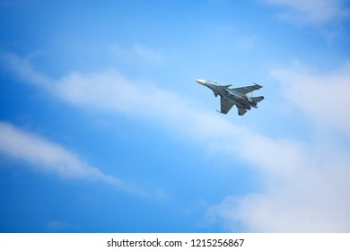 """Novosibirsk, Russia, July 31, 2016, Mochishche airfield, local air show, Aerobatic team VKS """"Russian Falcons"""" Su-30 SM, russian fighter aircraft in the blue sky"""