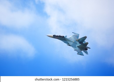 """Novosibirsk, Russia, July 31, 2016, Mochishche airfield, local air show, Aerobatic team VKS """"Russian Falcons"""" Su-30 SM, russian fighter aircraft high in the sky"""