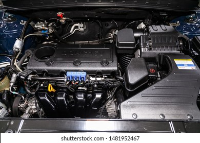 Novosibirsk, Russia – July 31, 2019:  Hyundai Santa Fe, close-up of the engine, front view. Internal combustion engine, car parts, deteyling