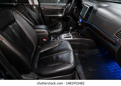 Novosibirsk, Russia – July 31, 2019:  Hyundai Santa Fe, close-up of the dashboard, player, steering wheel, accelerator handle, buttons, seats. modern car interior