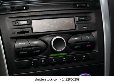 Novosibirsk, Russia – June 11, 2019:  Datsun on-DO, close-up of the dashboard with clock, temperature,radio,  player. modern car interior