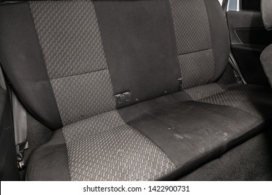 Novosibirsk, Russia – June 11, 2019:  Datsun on-DO,close-up of the black and gray  rear seats with seats belt. modern car interior
