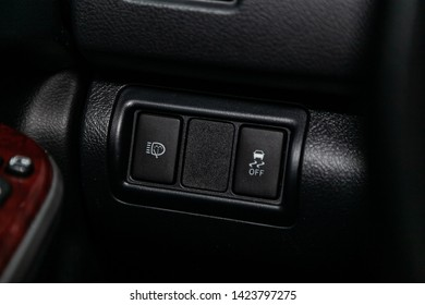 Novosibirsk, Russia – June 11, 2019:  Toyota Camry,  close-up of the headlight washer, off road buttons. modern car interior
