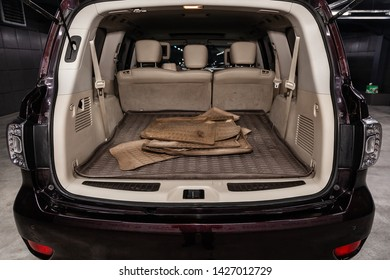 Novosibirsk, Russia – June 14, 2019:  Nissan Patrol, close-up of the trunk, front view. Photography of a modern car on a parking in Novosibirsk