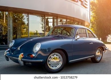 Novosibirsk, Russia - June 16, 2017: Porsche 356, side view. Photography of a classic car on a street in Novosibirsk