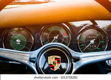 Novosibirsk, Russia - June 16, 2017: Porsche 356, dashboard. Photographing a classic car on a street in Novosibirsk