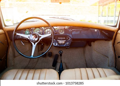 Novosibirsk, Russia - June 16, 2017: Porsche 356, dashboard  and interior. Photographing a classic car on a street in Novosibirsk