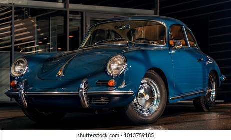 Novosibirsk, Russia - June 16, 2017: Porsche 356,near the Porsche showroom . Photography of a classic car on a street in Novosibirsk