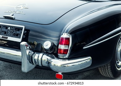 Novosibirsk, Russia - June 16, 2017: Mercedes-Benz 190 sl, close-up. Photography of a classic car on a street in Novosibirsk