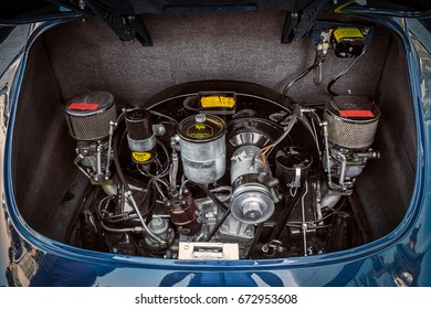 Novosibirsk, Russia - June 16, 2017: Porsche 356, close-up of the engine. Photography of a classic car on a street in Novosibirsk