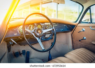 Novosibirsk, Russia - June 16, 2017: Porsche 356, car showroom. Photography of a classic car on a street in Novosibirsk