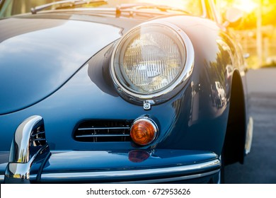 Novosibirsk, Russia - June 16, 2017: Porsche 356, close-up of the headlight. Photography of a classic car on a street in Novosibirsk