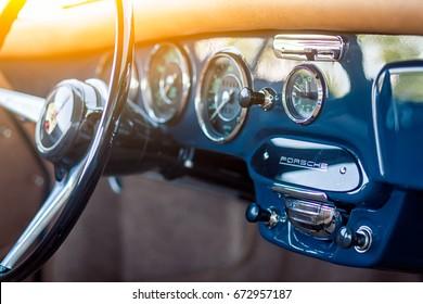 Novosibirsk, Russia - June 16, 2017: Porsche 356, dashboard. Photographing a classic car on a street in Novosibirsk