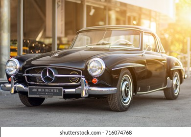 Novosibirsk, Russia - June 16, 2017: Mercedes-Benz 190 sl, side view. Photography of a classic car on a street in Novosibirsk