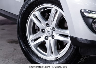 Novosibirsk, Russia – June 22, 2019:  Hyundai Santa Fe, close-up of the alloy wheel. Photography of a modern car on a parking in Novosibirsk