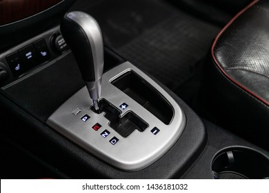 Novosibirsk, Russia – June 22, 2019:  Hyundai Santa Fe, close-up of the accelerator handle and buttons. automatic transmission gear of car , car interior