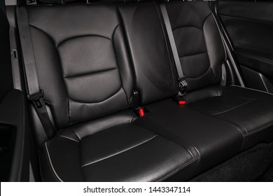 Novosibirsk, Russia – June 28, 2019: Hyundai Creta, close-up of the black leather rear seats with seats belt. modern car interior