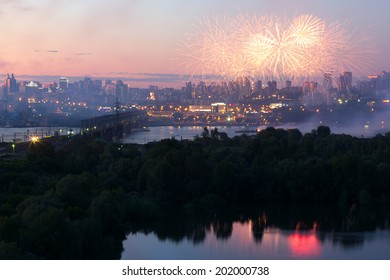 NOVOSIBIRSK, RUSSIA - JUNE 29: The 11th festival of fireworks in Novosibirsk, 2014. City Day closing, 121 years to Novosibirsk. Ob Embankment, June 29, 2014, Novosibirsk, Russia.