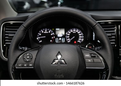 Novosibirsk, Russia – June 30, 2019: Mitsubishi Outlander, close-up of the dashboard, speedometer, tachometer and steering wheel. . modern car interior