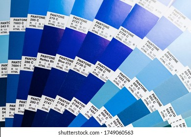 Novosibirsk, Russia - June 4, 2020 - Pantone color palette in blue shades, used to select the right shade in the design. color fan