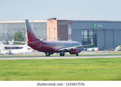 Novosibirsk, Russia – June 7, 2018: Boeing 737-8LJ VP-BOA Rossiya Airlines on the runway of Tolmachevo International Airport