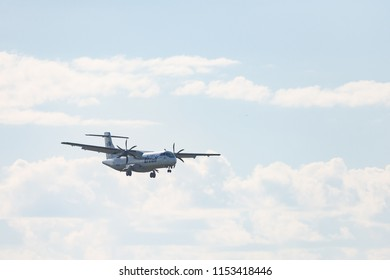 Novosibirsk, Russia – June 7, 2018: ATR 72-212A(500) VQ-BLK UTair Aviation approaches for landing at the international airport Tolmachevo.