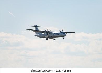 Novosibirsk, Russia – June 7, 2018: ATR 72-212A(500) VQ-BLK UTair Aviation approaches for landing at the international airport Tolmachevo.