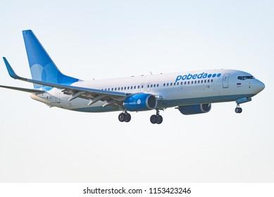 Novosibirsk, Russia – June 7, 2018: Boeing 737-8AL VP-BPV Pobeda approaches for landing at the international airport Tolmachevo.